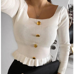 Women Sweater Korean Version Long Sleeve Sweet Solid Short Girl Early Autumn Knitted Pullovers