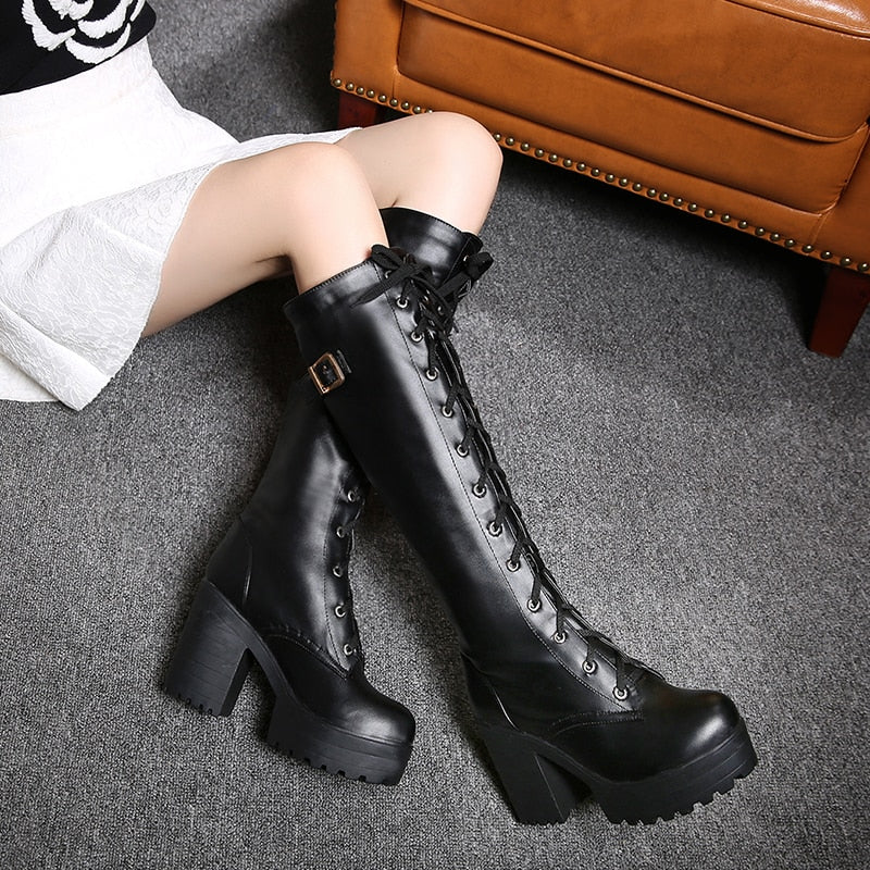 Fashion Leather Strap Chunky Heel Knee High Boots