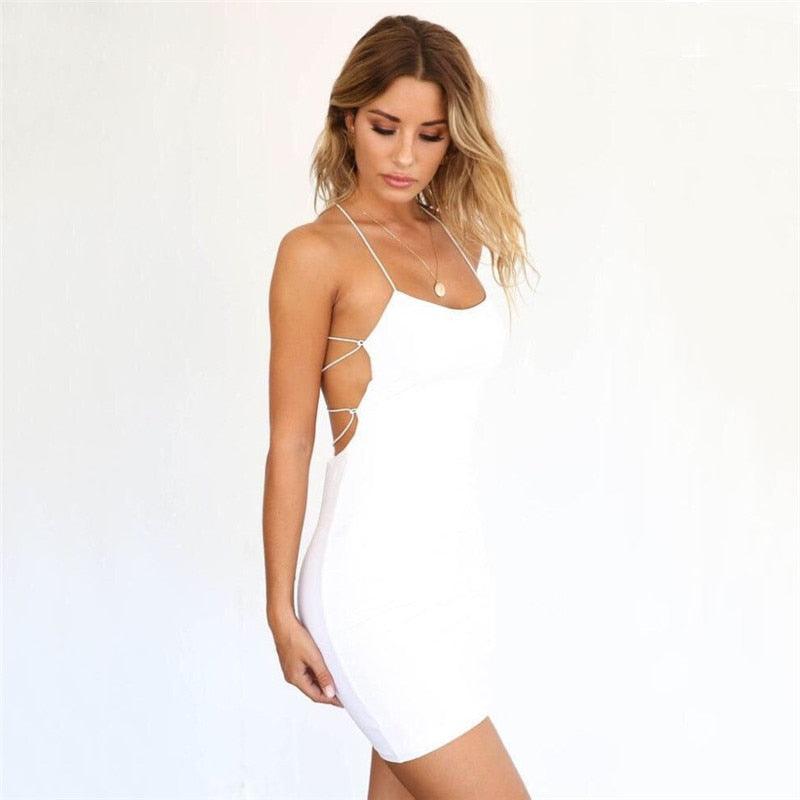 Women Sexy Bodycon Party Dresses Backless Spaghetti Straps Clubwear Mini Dress