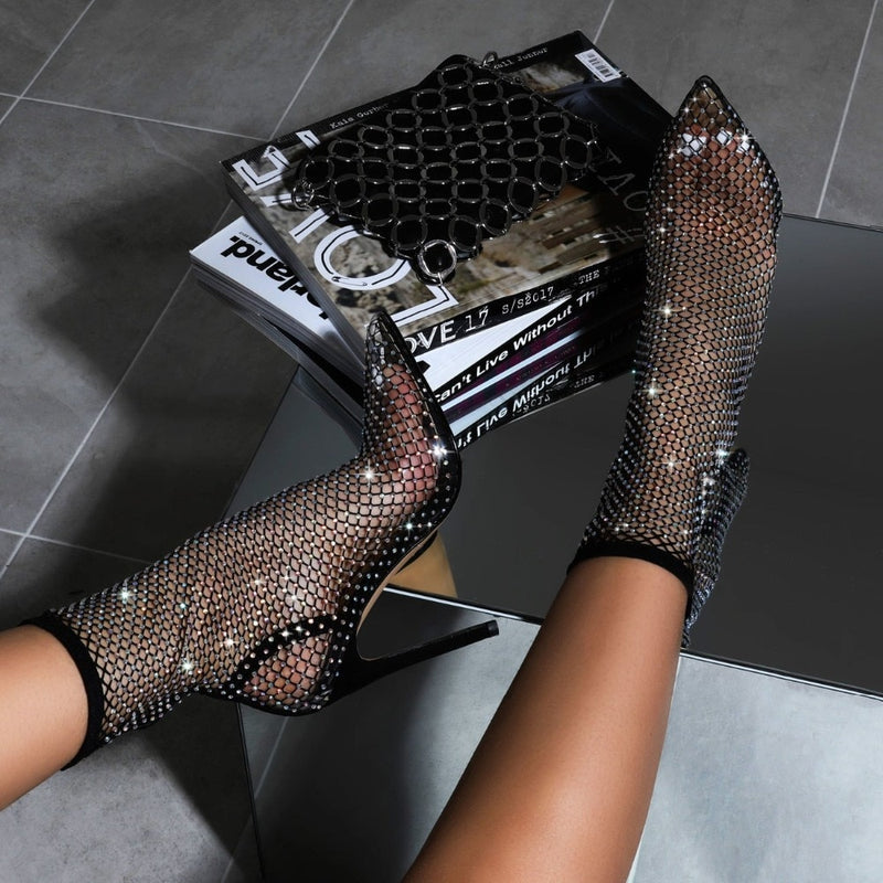 Black Crystal Mesh Cutout Ankle Boots
