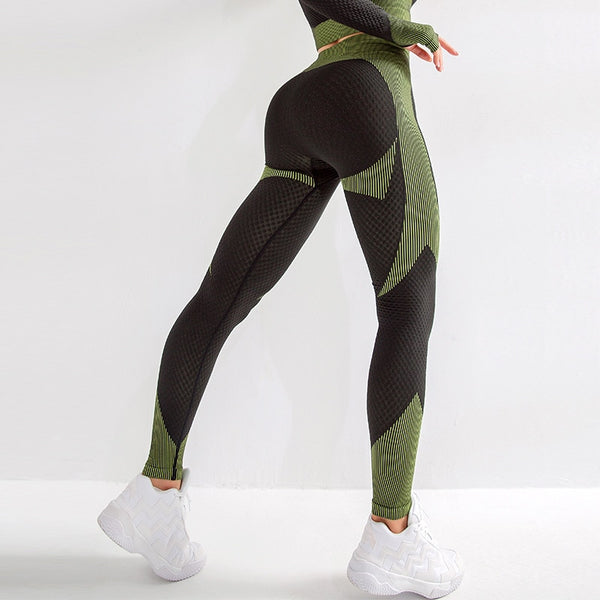 Sports High Waist Colorblck Bodycon Skinny Leggings Pants