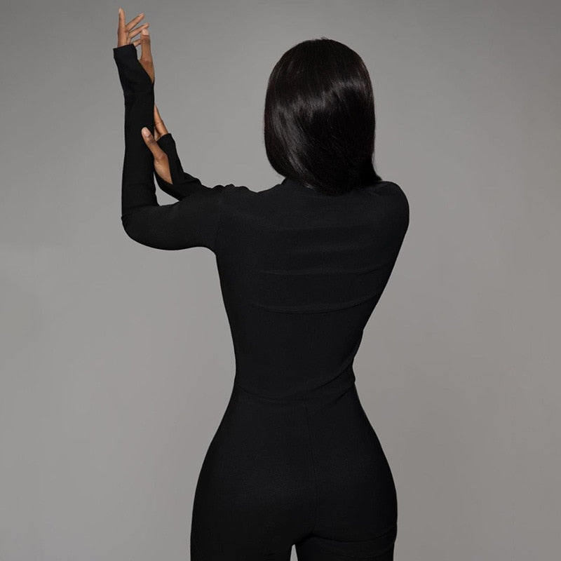 Plain Long Sleeve Zipper Bodycon Skinny Jumpsuits
