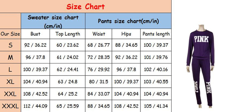 Two Piece Tracksuit PINK Printed Sport Suit  Solid Sexy Sportswear Gym Wear Women Tops Skinny Pants Workout Wear