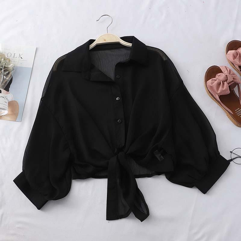 Chiffon Shirts Women Summer Half Sleeve Buttoned Up Shirt Loose Casual Blouse Tied Waist Elegant Blouses For Women