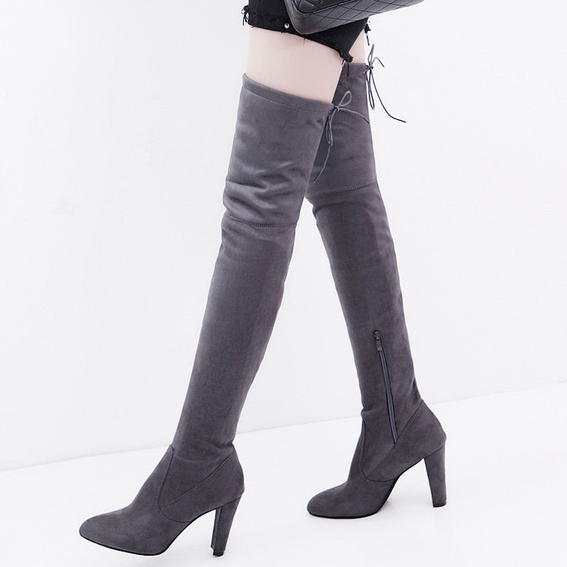Plain Suede Stretch Over the Knee Boots