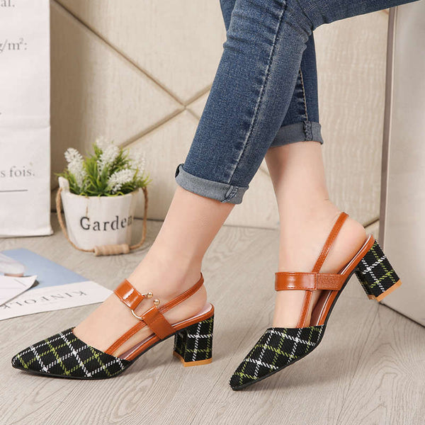 Plaid Pointed Toe Chunky Heel High Heels