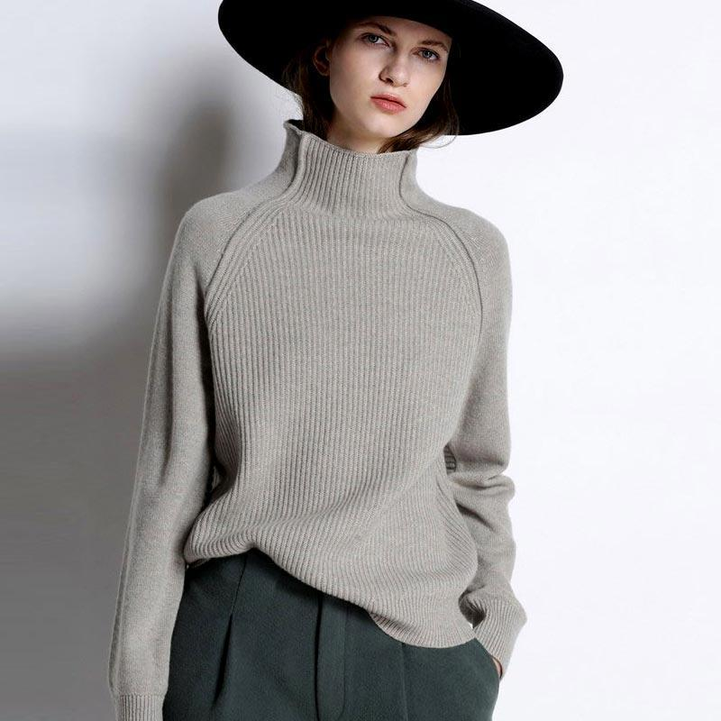 Cashmere Sweater Women High-Collar Thickened Pullover Loose Sweater Large Size Knitted Wool Shirt