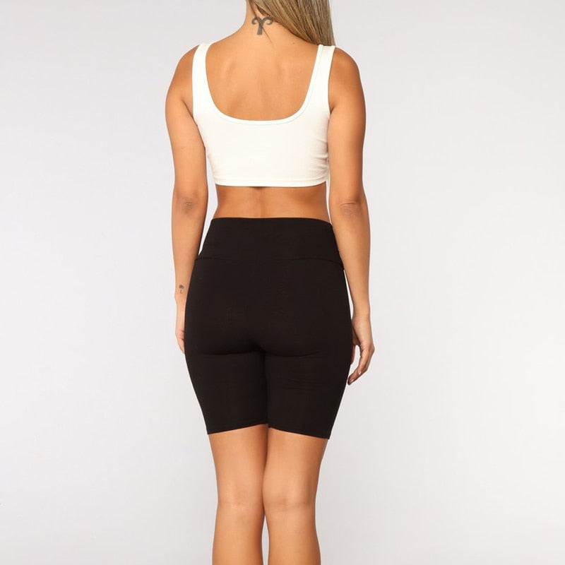 High Waist Plain Keen Length Short Pants