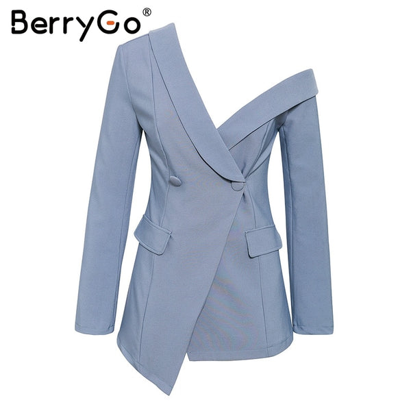 Sexy One Shoulder Women Blazers And Jackets Asymmetrical Work Winter Pure Blazers Female Office Ladies Blazer Coat