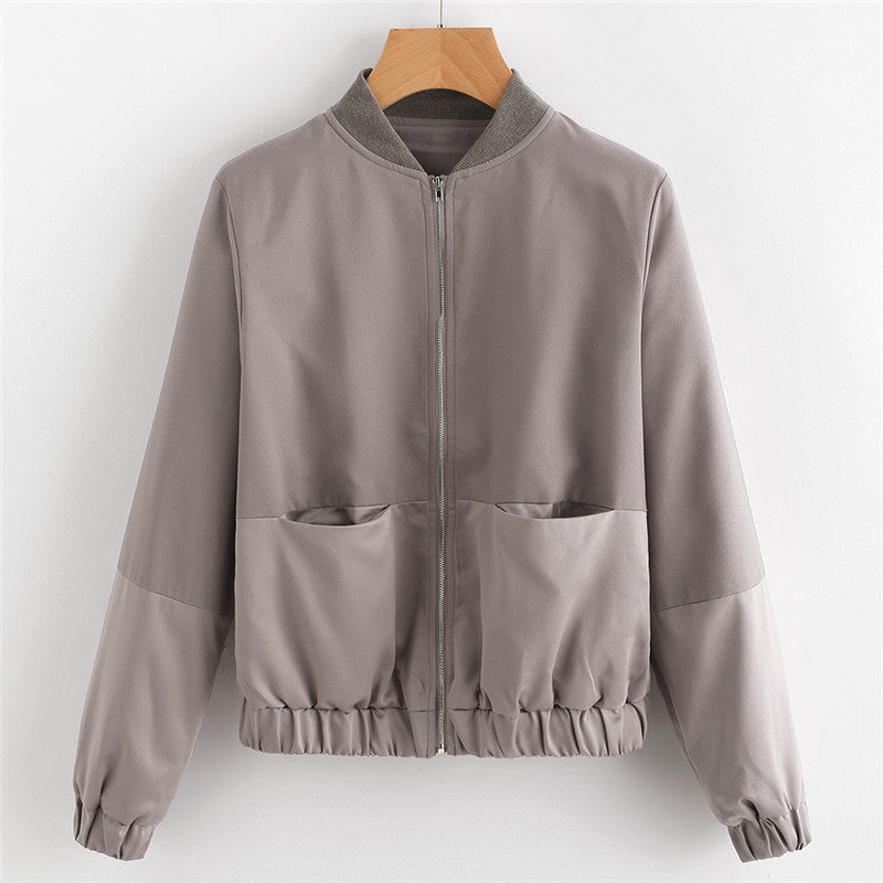 Womens Autumn Casual Jackets Ladies Color Block Pocket Zipper Front Stand Collar Long Sleeve Basic Jacket Coat Outwear