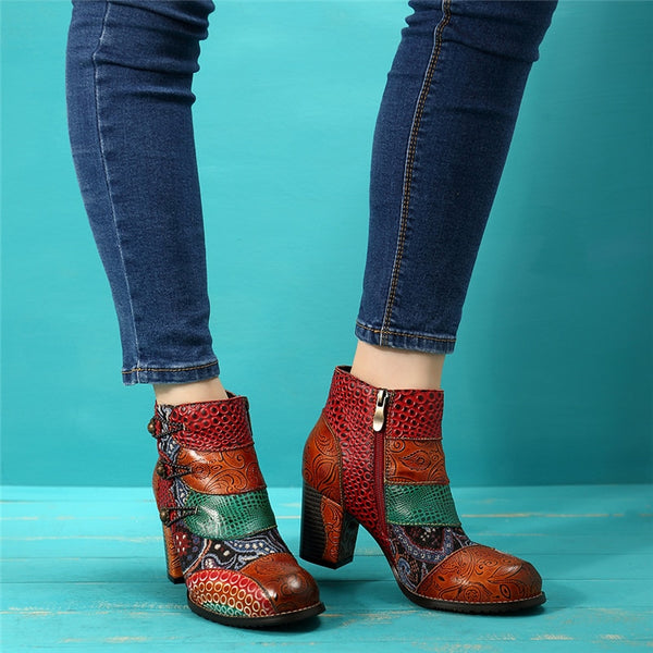 Leather Retro Print Block Heels Ankle Boots