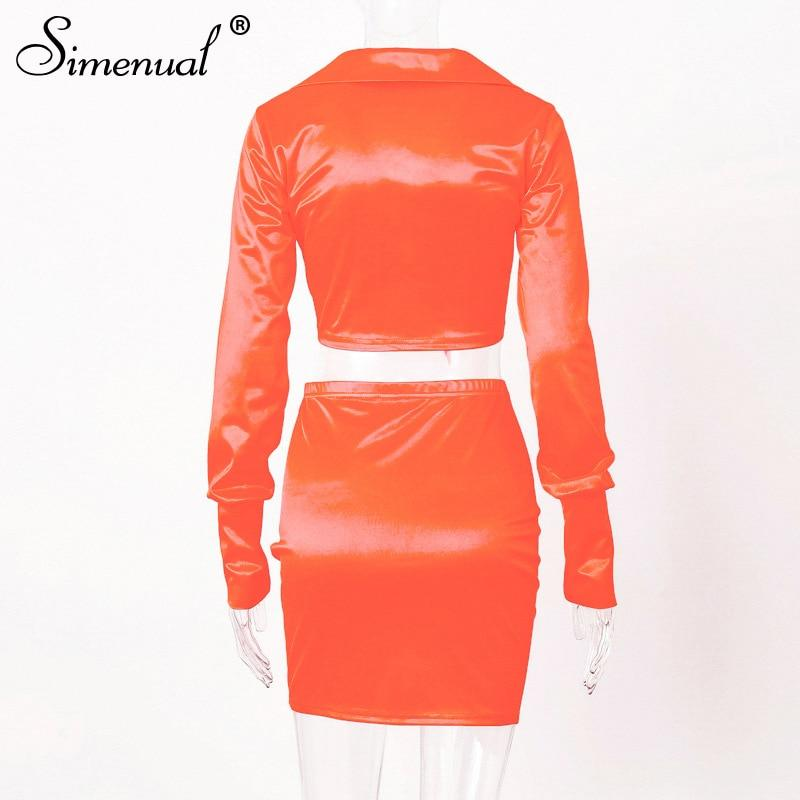 Sexy Fashion Satin Matching Sets Women V Neck Party Hot Silk 7 Piece Outfits Long Sleeve Bandage Crop Top And Skirt Set