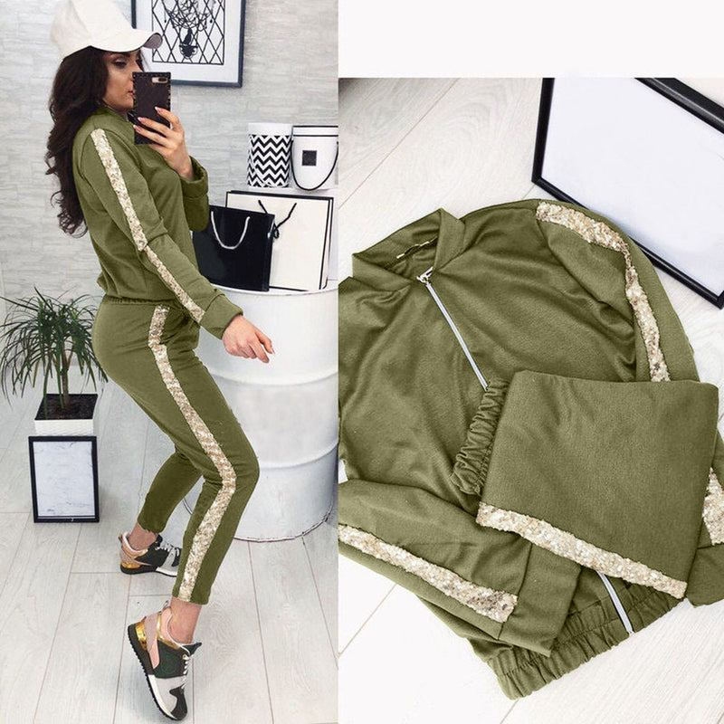 Tracksuit Women 2 Piece Set Tops Pant Clothing Breathable Ladies Stripted 3pcs Sports Suits