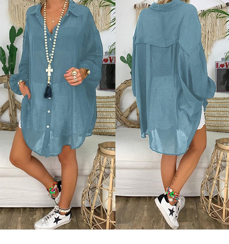 Linen Womens Tops And Blouses Plus Size Long Sleeve Turn Down Collar Female Tunic Beach Style Thin Women Summer Blouse