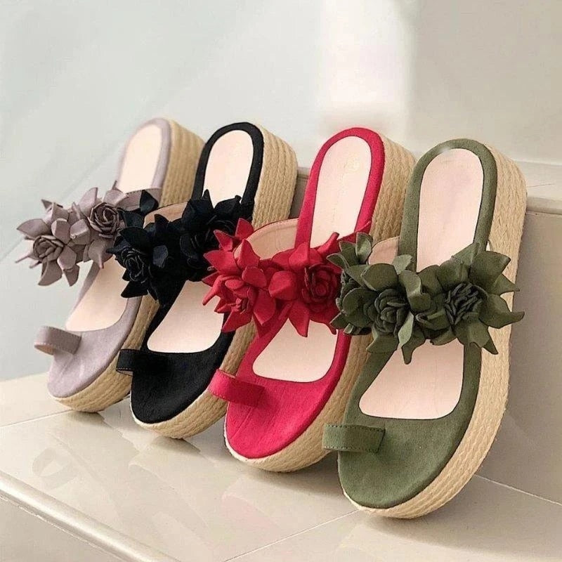 Flower Slip On Platform Sandals
