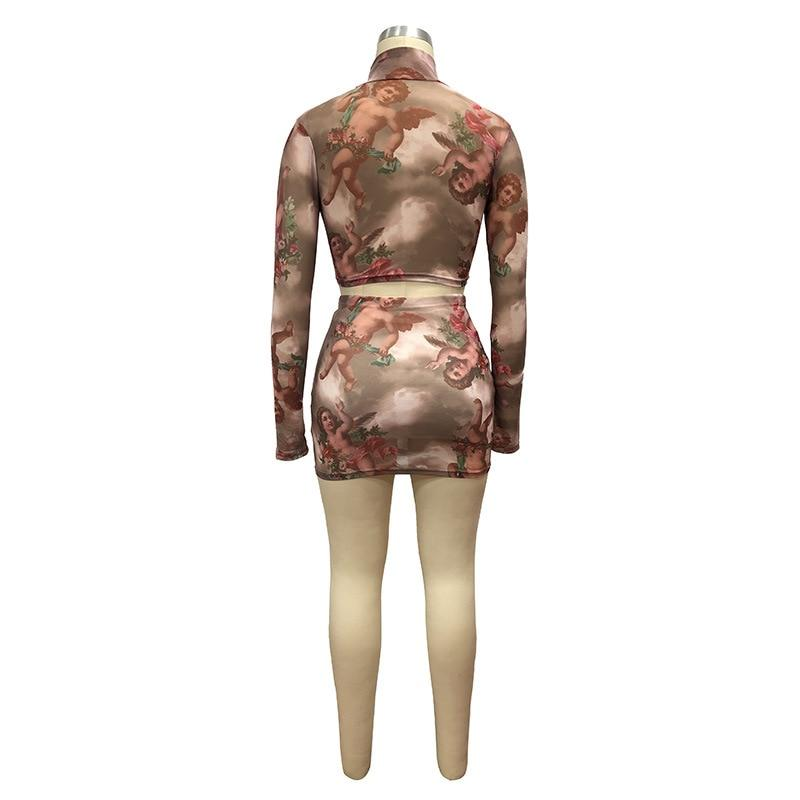 Angel Print Sheer Mesh Sexy Outfits 2 Piece Set Women Long Sleeve Crop Top Skirt Two Piece Club Matching Sets