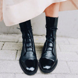 Black Leather Low Heel Martin Boots