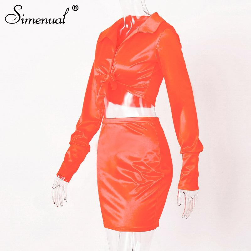 Sexy Fashion Satin Matching Sets Women V Neck Party Hot Silk 6 Piece Outfits Long Sleeve Bandage Crop Top And Skirt Set