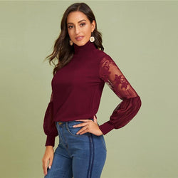 Women High Neck Lace Lantern Sleeve Top Fashion Mesh Blouse Women's Long Sleeve Pattern Printing Ladies Tops