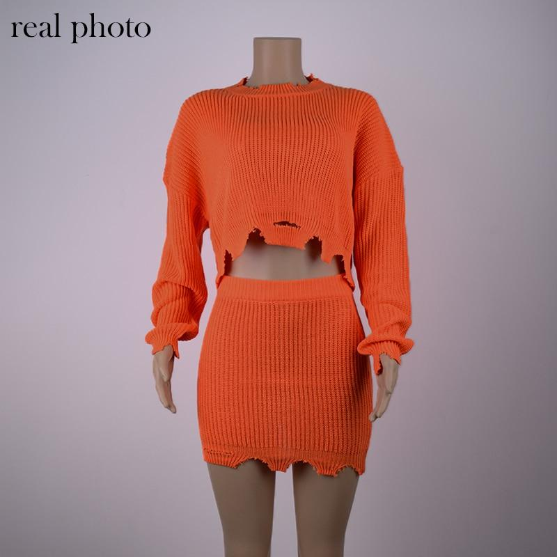 Knitted Autumn Fashion 2 Piece Outfits Women Long Sleeve Casual Matching Sets Solid Cropped Sweater And Skirt Set