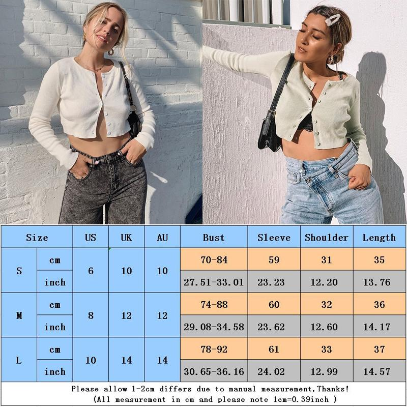 Casual Knitted Short Cardigans Women O Neck Long Sleeve Buttoned Crop Sweaters Jumper