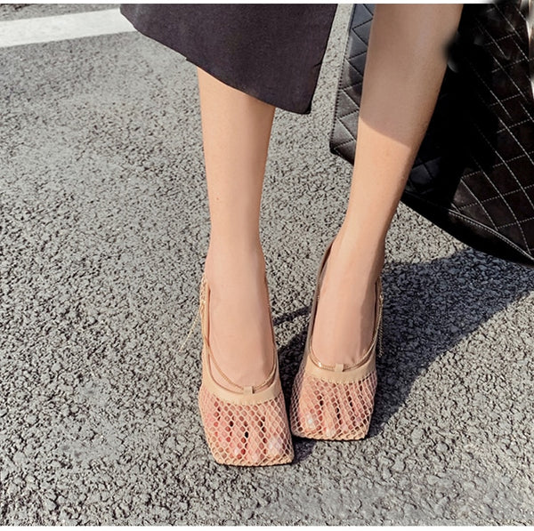 Square Toe Cutout Chain High Heels
