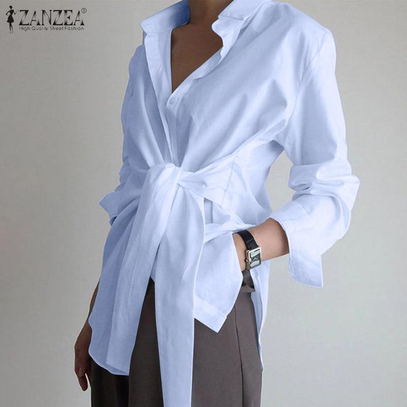 Fashion Women Long Sleeve Blouse Casual Lace Up Shirts Elegant Lapel Neck OL Asymmetric Tops