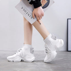 Casual Knitted Lace Up Chunky Sock Shoes
