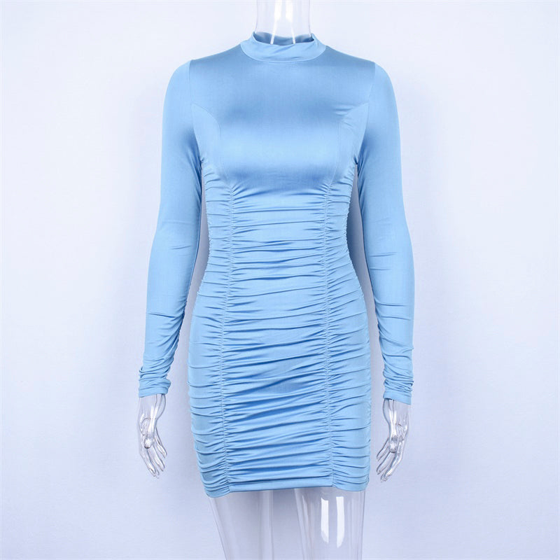 Satin Long Sleeve High Neck High Waist Bodycon Sexy Mini Dress Fashion Party Elegant Clothes