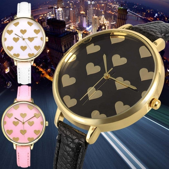 Women Fashion Synthetic Leather Large Dial Slim Watchband Heart Pattern Quartz Analog Wrist Watch - May Your Fashion - 1
