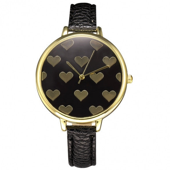 Women Fashion Synthetic Leather Large Dial Slim Watchband Heart Pattern Quartz Analog Wrist Watch - May Your Fashion - 2