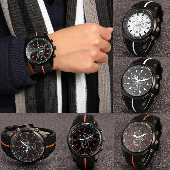 Men Fashion Tire Pattern Silicone Watchband Large Dial Quartz Analog Sport Wrist Watch - May Your Fashion - 1
