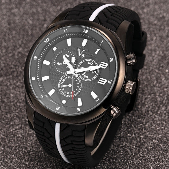 Men Fashion Tire Pattern Silicone Watchband Large Dial Quartz Analog Sport Wrist Watch - May Your Fashion - 2