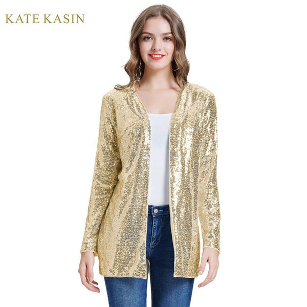 Women Sparkle Sequin Coat Jacket Stunning Open Front Long Sleeve Cardigan Outwear Fashion Sequins Streetwear