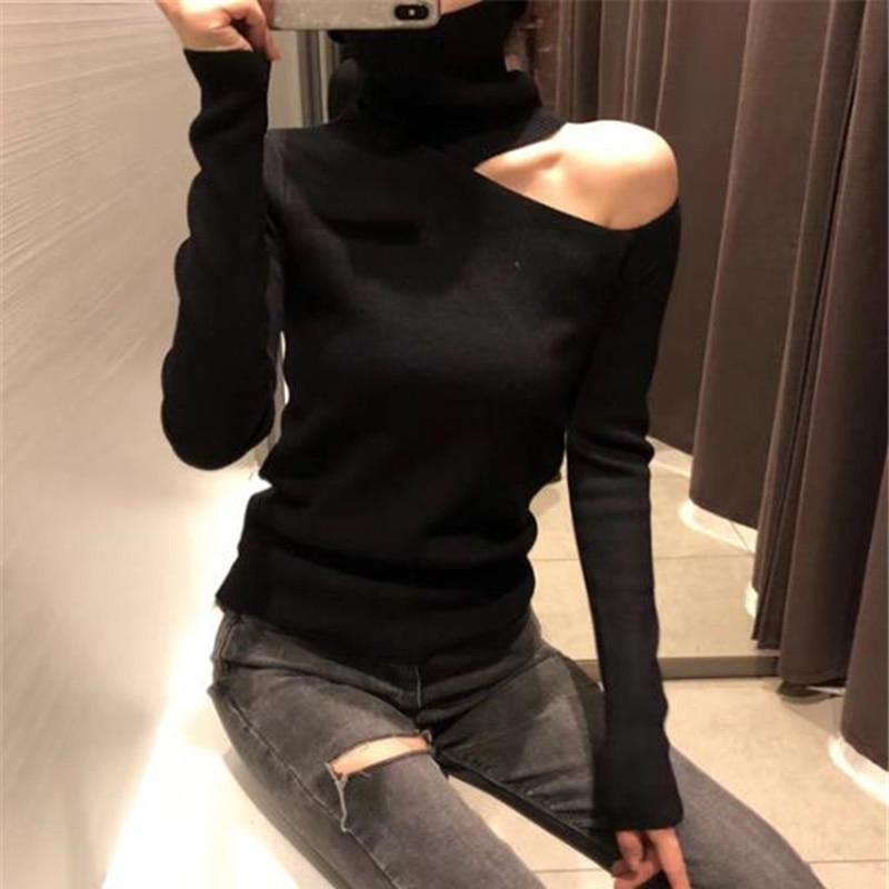Knitted Sweater Off Shoulder Pullovers Sweater for Women Long Sleeve Turtleneck Female Jumper Black White Sexy Clothing