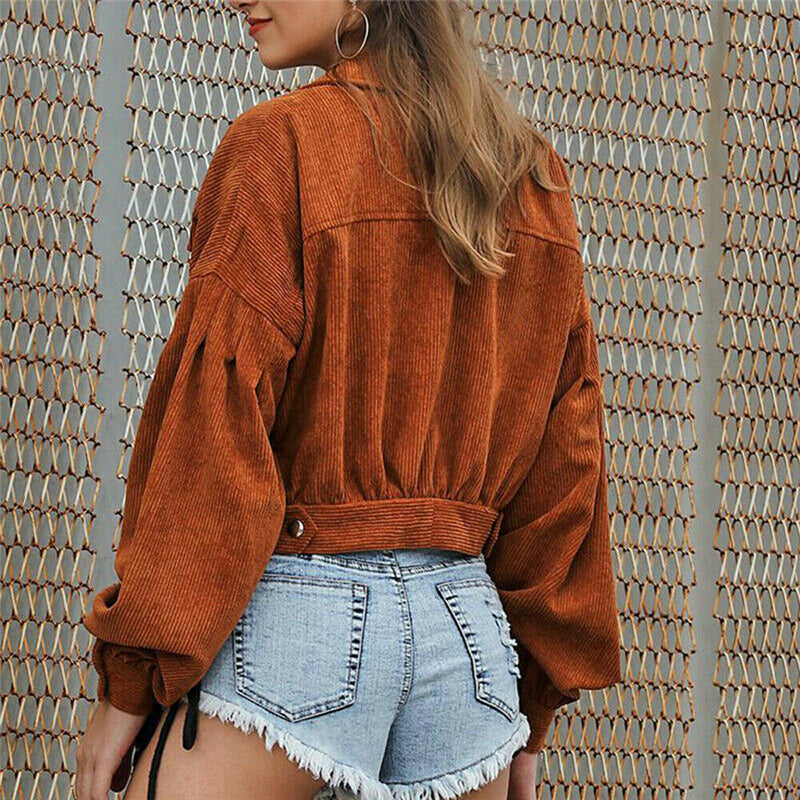 Long Sleeve Women Corduroy Short Jacket Button Pocket Crop Coat Long Puff Sleeve OutWear Pockets Top