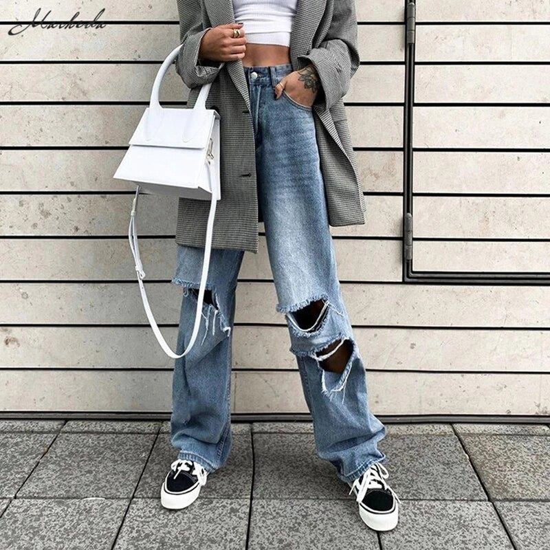 Fashion Loose Washed Straight Ripped High Waist Pants