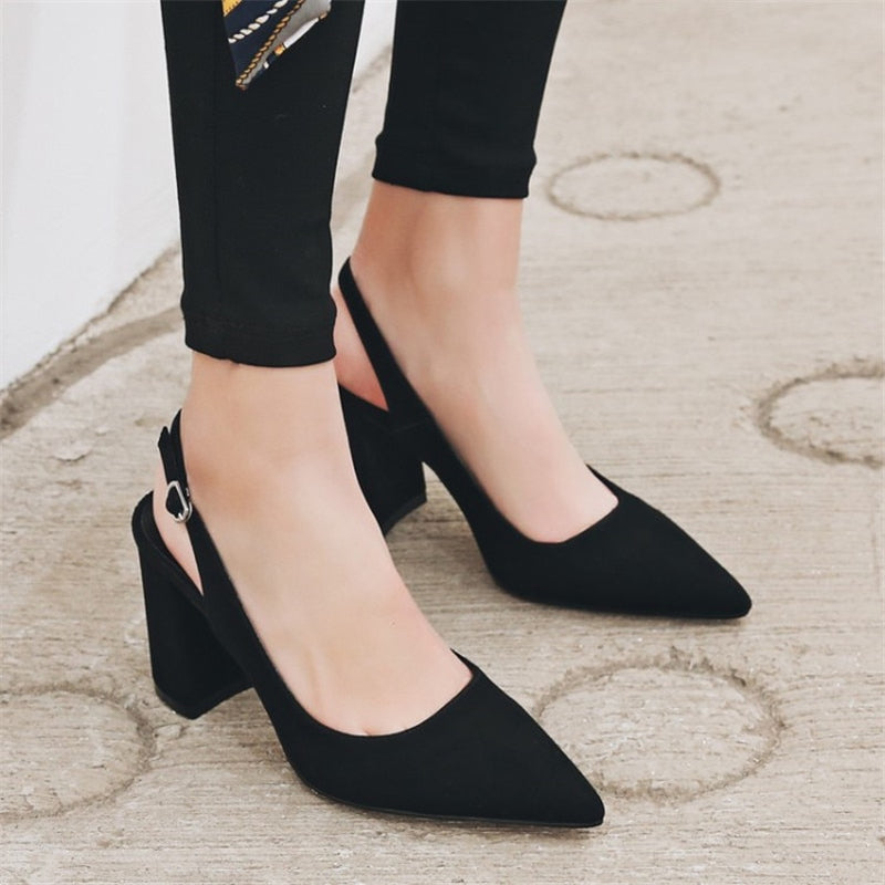 Buckle Pointed Toe Suede Chunky Heel High Heels