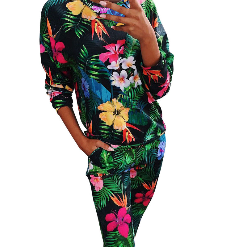 Fashion Casual 4Pcs Womens Print Tracksuits Set Lounge Wear Ladies Top Suit Pant Plus Size Woman Set Suit