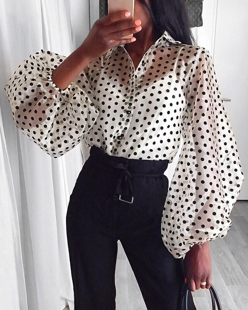 Women Mesh Sheer Blouse See-through Lantern Long Sleeve  Blouse Fashion Pearl Button Transparent White Shirt