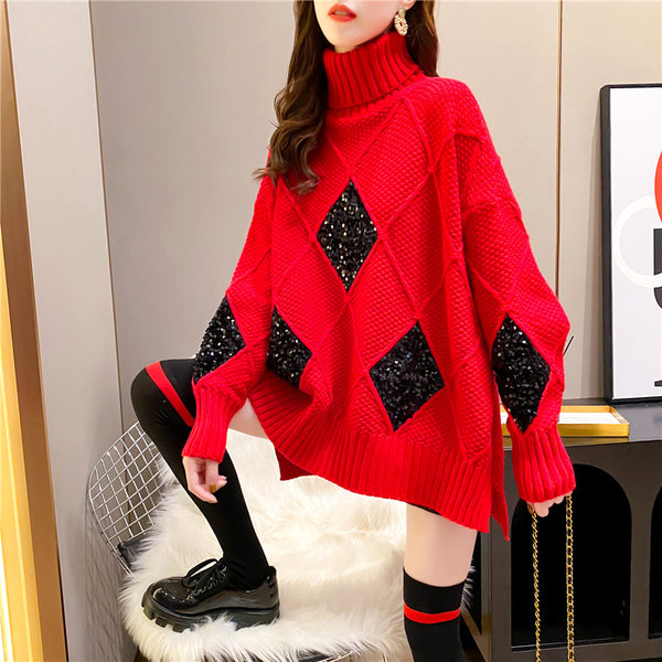 Loose High Neck Diamond Thickened Sweater
