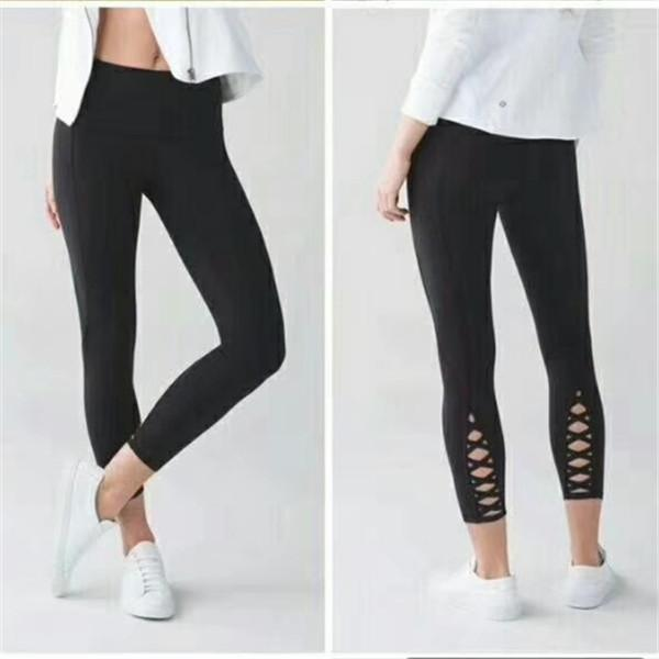Hollow Out Straps Pure Color Long Sports Leggings