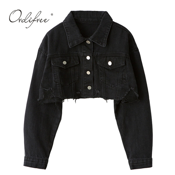 Autumn Women Denim Jacket Long Sleeve Fashion Streetwear Casual Loose Outwear Short Ripped Jeans Jacket Coat