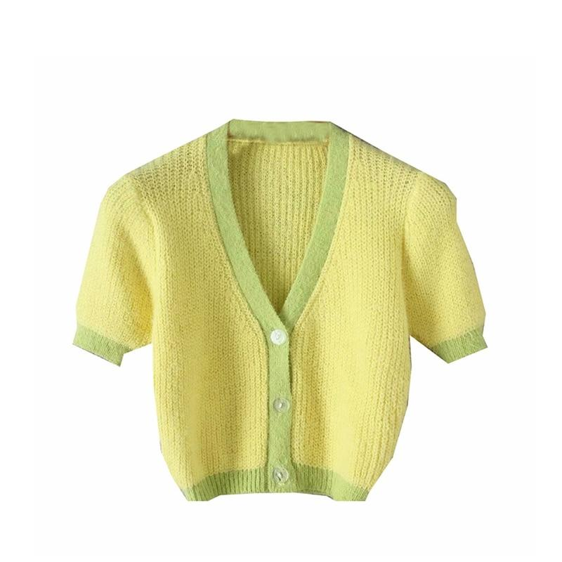 Cardigan Womens Sweaters Korean Crop Sweater Yellow Autumn Tops Short Sleeve V Neck Short Cardigan Mohair Sweater