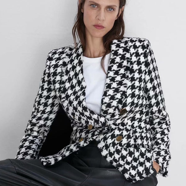 Double Breasted Blazers Women Fashion Houndstooth Casual Jackets Women Elegant Long Sleeve Blazer
