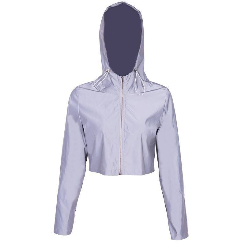 Reflective Boomber Hooded Jacket Women Night Glowing Short Jacket Coat Streetwear Long Sleeve Zipper Outwear