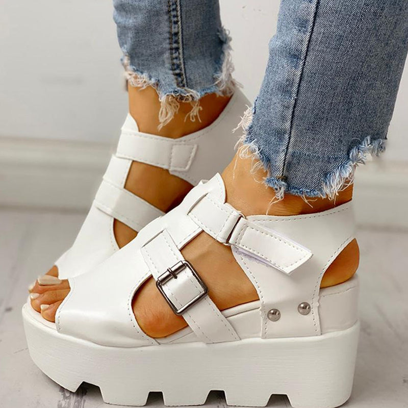 Platform Wedge Suede Peep Toe Sandals