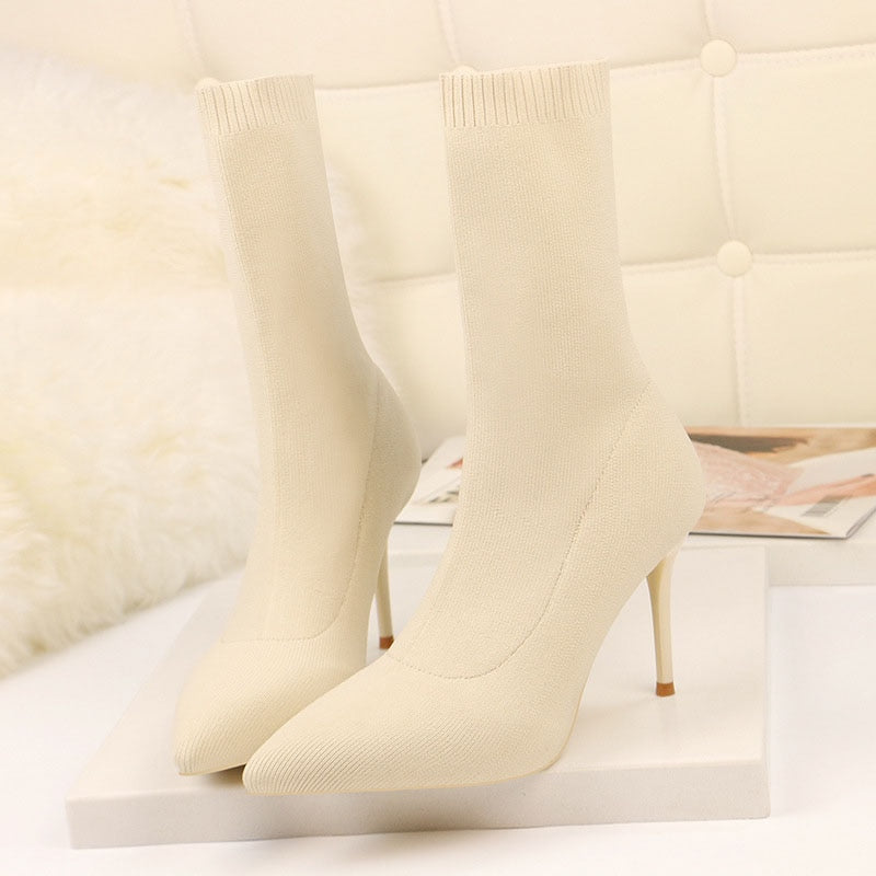Pointed Toe High Heels Knitting Sock Boots