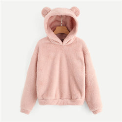 Lovely With Bears Ears Solid Teddy Hoodie Pullovers Sweatshirt Autumn Women Campus Casual Sweatshirts