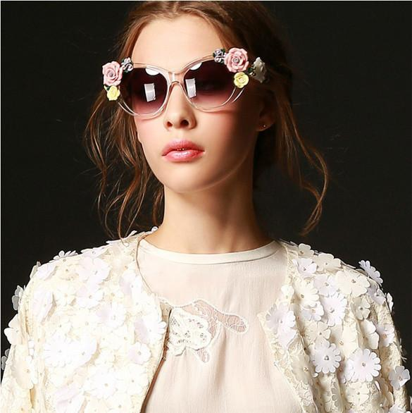 2016 Vintage Shades Women Designer Rose Flowers Sunglasses - May Your Fashion - 7